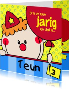 Verjaardagskaarten - Jarig clowntje met een ballon