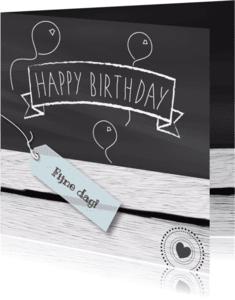 Verjaardagskaarten - Jarig krijt hout eigen txt