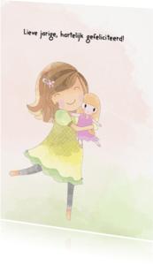 Verjaardagskaarten - Jarig meisje met pop