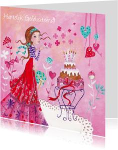 Verjaardagskaarten - Jarig Meisje Taart Roze Illustratie S
