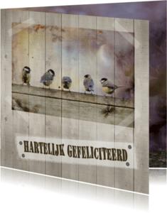 Verjaardagskaarten - Jarig met vogels op hout