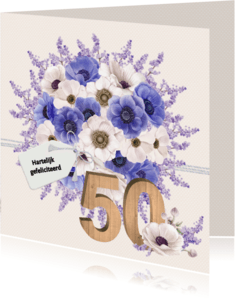 Verjaardagskaarten - Jarigkaart anemonen 50 jaar