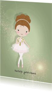Verjaardagskaarten - Jarigkaart ballet meisje knot