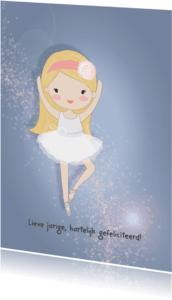 Verjaardagskaarten - Jarigkaart ballet meisje roos
