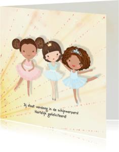 Verjaardagskaarten - Jarigkaart ballet-meisjes