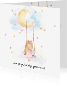 Verjaardagskaarten - Jarigkaart meisje op schommel