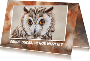 Verjaardagskaarten - Jarigkaart met uilen wijsheid
