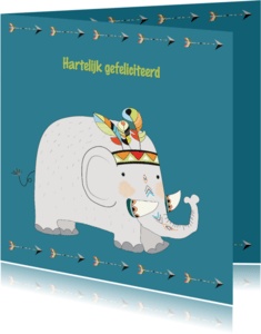 Verjaardagskaarten - Jarigkaart olifant met indianentooi