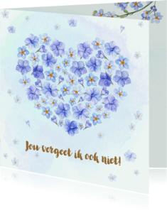 Verjaardagskaarten - Jarigkaart vergeet-mij-niet met hart