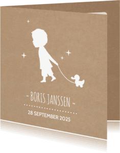 Geboortekaartjes - Jongen trekeend kraft geboorte