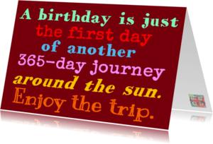 Verjaardagskaarten - Journey around the sun