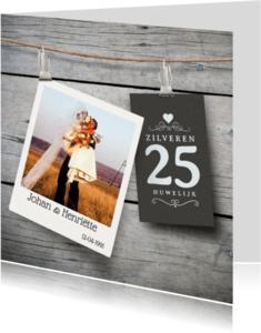 Jubileumkaarten - Jubileum 25 jaar huwelijk hout