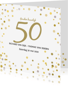 Uitnodigingen - Jubileum confetti goud av
