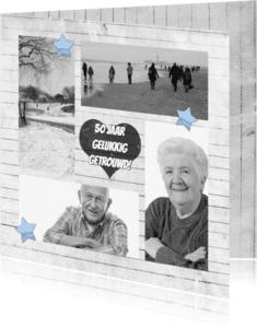 Jubileumkaarten - Jubileum hout hart en 4x foto