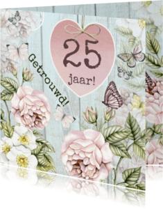 Jubileumkaarten - jubileum huwelijk hart bloemen