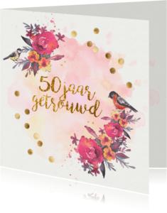 Jubileumkaarten - jubileumkaart confetti 50 jaar getrouwd
