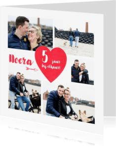 Jubileumkaarten - Jubileumkaart Foto Collage Hart