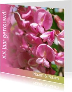 Jubileumkaarten - Jubileumkaart met roze bloemen xx jaar