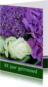 Jubileumkaarten - Jubileumkaart paars wit groen