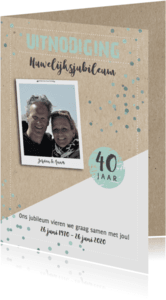 Uitnodigingen - Jubileumkaart schuin av