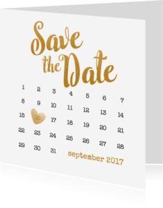 Trouwkaarten - Kalender goud Save the Date - BK
