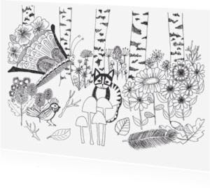 Ansichtkaarten - Kat in het bos zwart wit