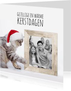 Kerstkaarten - Kat, kerstmuts en fotolijst-isf