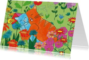 Bloemenkaarten - Katten in de bloemenwei