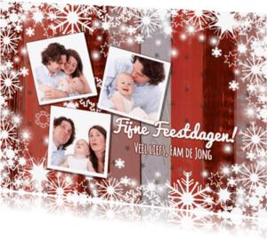 Kerstkaarten - Kerst 3 fotos rood houtlook L-HB