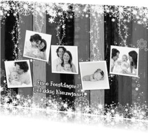 Kerstkaarten - Kerst 5 fotos hout grijs L-HB