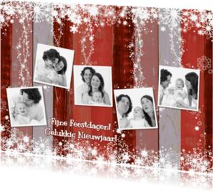 Kerstkaarten - Kerst 5 fotos hout rood L-HB