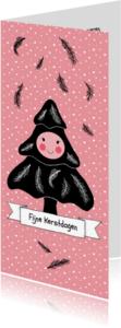 Kerstkaarten - Kerst boompje zwart roze - HR