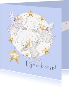 Kerstkaarten - Kerst - drie kleine engeltjes met sterren