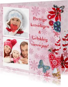 Kerstkaarten - Kerst foto collage PINK SNEEUW