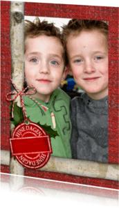 Kerstkaarten - kerst foto label rood YVON