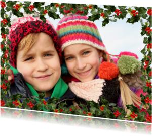 Kerstkaarten - Kerst fotokader met hulst