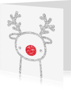 Kerstkaarten - Kerst Glitter Rendier