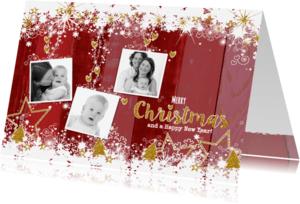 Kerstkaarten - Kerst hout rood goud foto L