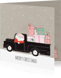 Kerstkaarten - Kerst kerstman kadootjes oldtimer kraft- MW