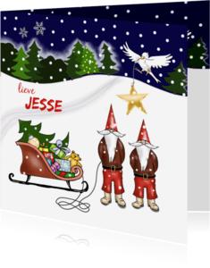 Kerstkaarten - Kerst - kinderkerstmannetjes met slee