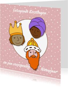 Kerstkaarten - Kerst Koningen Roze - HR