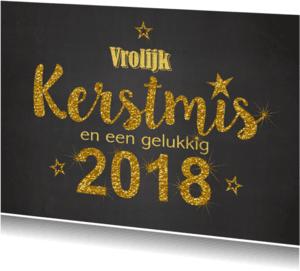 Kerst krijtbord handlettering goud glitter 2018