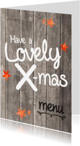 Kerstkaarten - Kerst menukaart  lovely hout