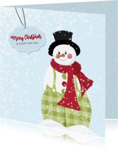 Kerstkaarten - Kerst sneeuwpop groene broek