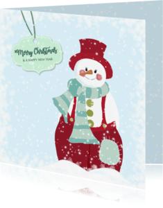 Kerstkaarten - Kerst sneeuwpop rode broek
