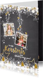 Kerstkaarten - Kerst stoer lief grijs glitter S