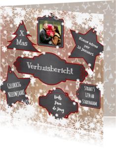 Kerstkaarten - Kerst verhuisbericht krijtbord labels