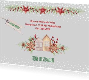 Verhuiskaarten - Kerst-verhuiskaart huisjes met kerstkoekjes