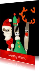 Menukaarten - Kerst Vrolijk bestek menukaart