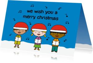 Kerstkaarten - Kerst Zingende kinderen